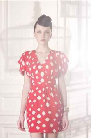 Shibori Silk flutter-sleeve silk dress $298