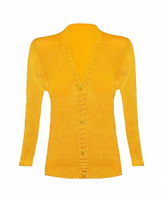Yellow Cardigan For Woman Knitted Cardigan sweater cardigan Casual ...