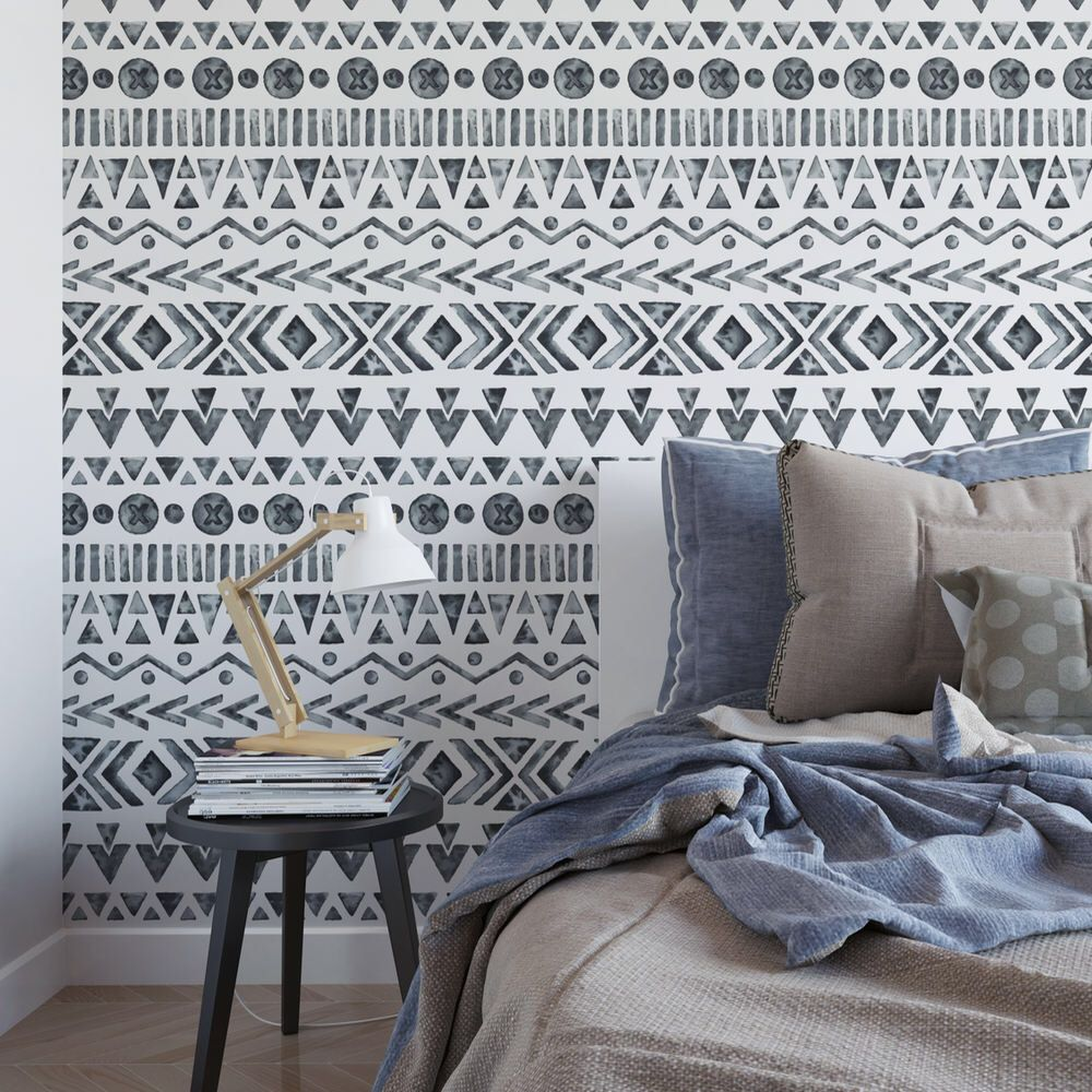 Watercolor Bohemian Removable Wallpaper Tribal Black And