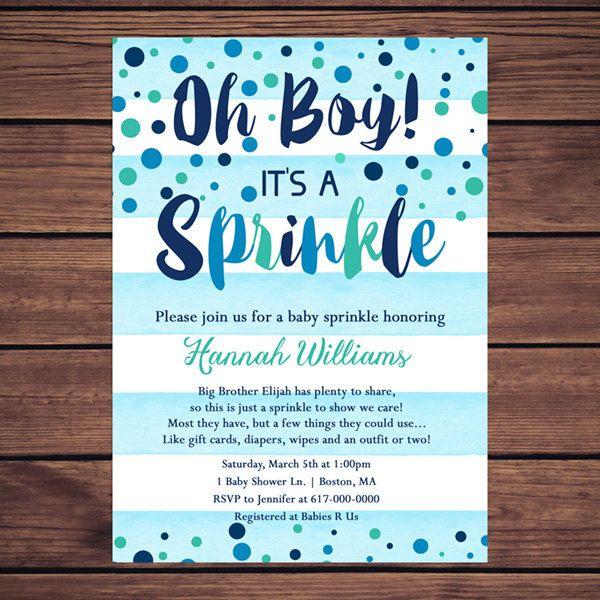 baby sprinkle invitation boy blue by designedbygeorgette on etsy, Baby shower invitations