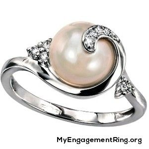 unique pearl diamond engagement ring my engagement ring - Pearl Wedding Ring