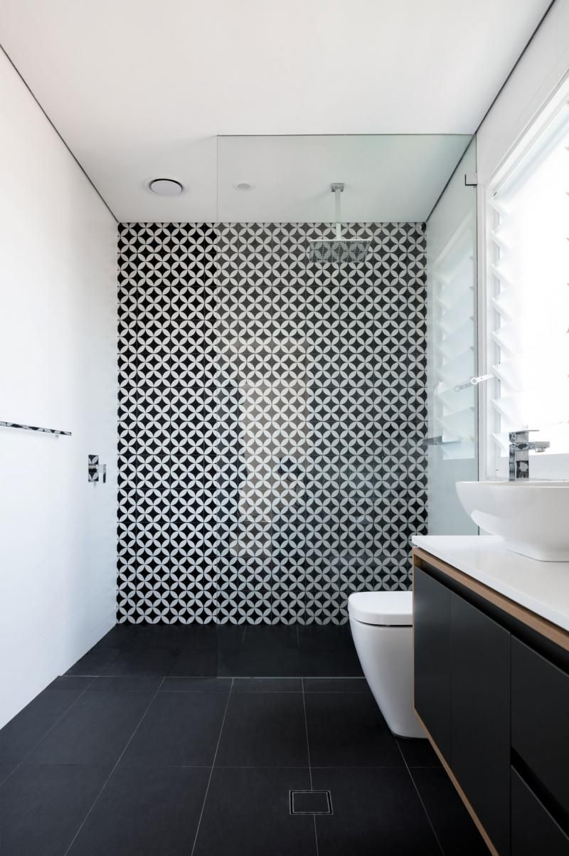 Statement Tiles Black And White Bathroom White Bathroom Designs Bathroom Layout Small Bathroom Remodel