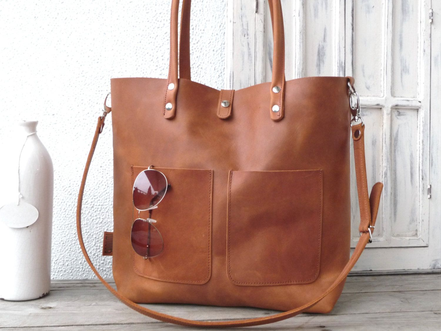 Leather bag, cowhide, full grain, leather tote, distressed