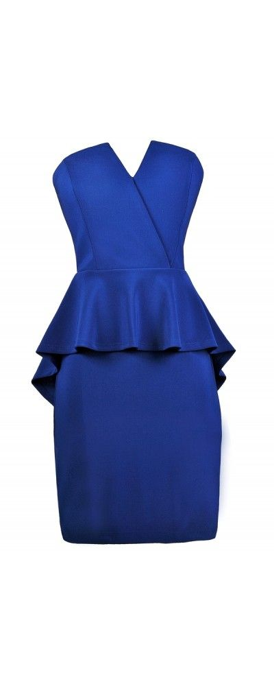 Lily Boutique Pepped Up Strapless Crossover Peplum Pencil Dress in Royal Blue, $33 Royal Blue Peplum Dress, Strapless Peplum Dress, Royal Blue Cocktail Dress, Bright Blue Party Dress www.lilyboutique.com