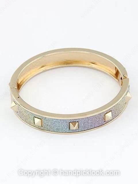 Colorful Frosted Gold Rivet Bangle Bracelet -$8.29