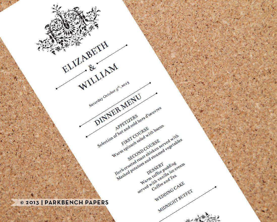 Printable Wedding Menu Template  Flourish Design  Diy Editable