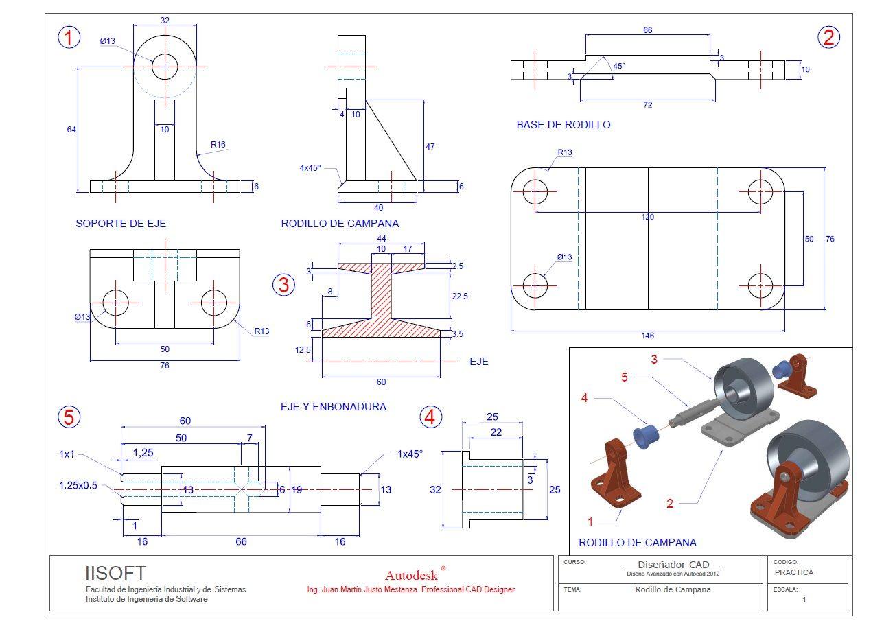 Rodillo De Campana Plano Detalle By Ing Martin Mestanza Planos Mecanicos Dibujos En Autocad Tecnicas De Dibujo