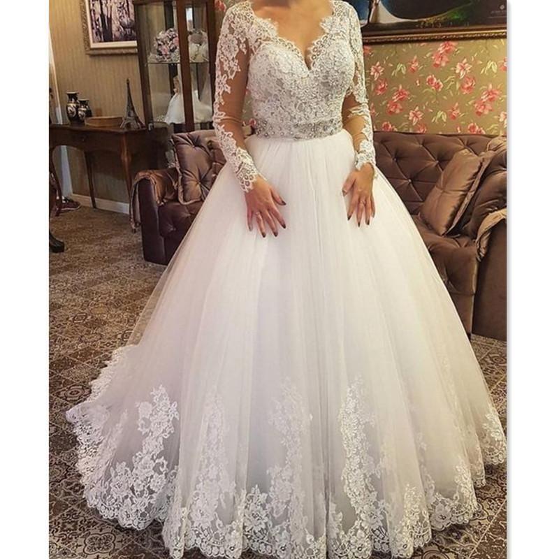V-Neck Long Train White//Ivory Lace Plus Size Wedding Dresses Bridal Gowns Custom