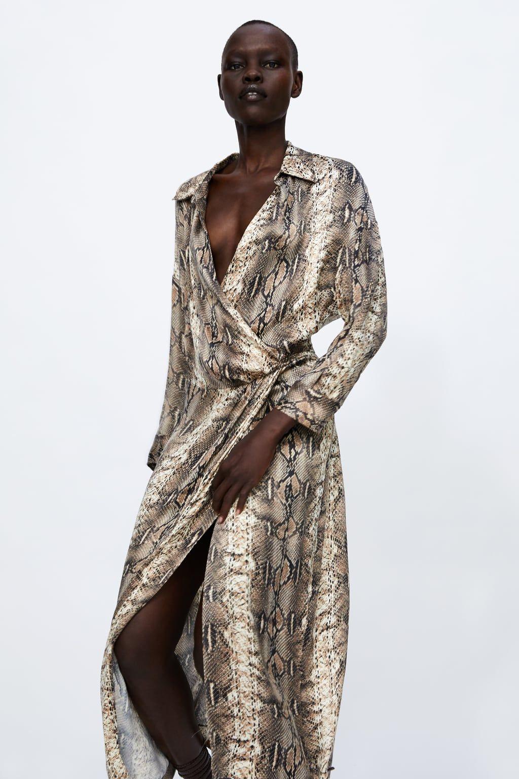 9337b0bdea201c Image 2 of SNAKESKIN PRINTED SHIRT DRESS from Zara | Lookbook in ...