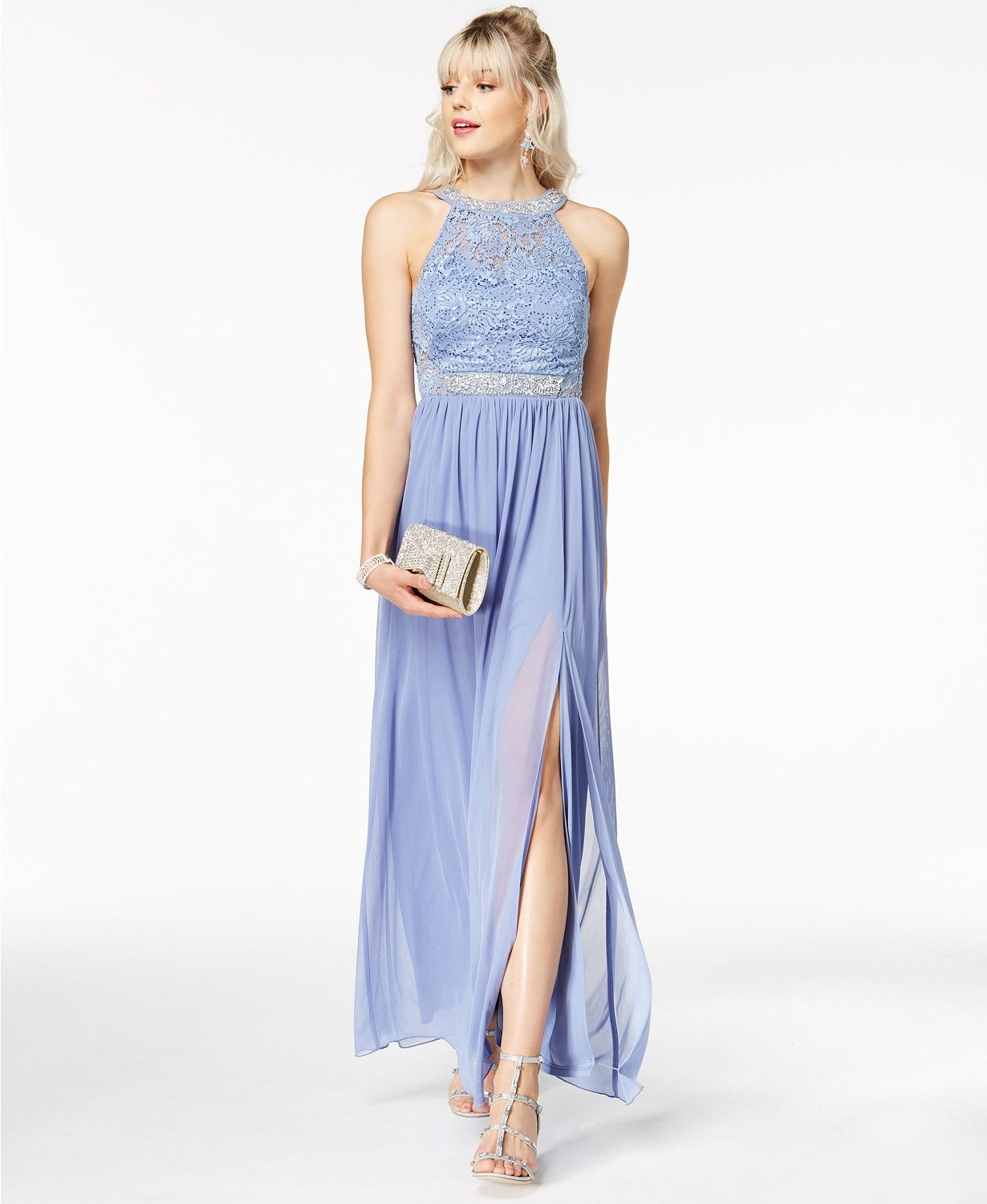 Bcx juniors embellished lace halter gown created for