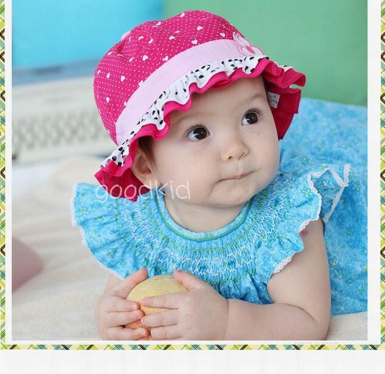 New Handmade White Floral Cotton with Fushia Pink Trim Baby Bonnet