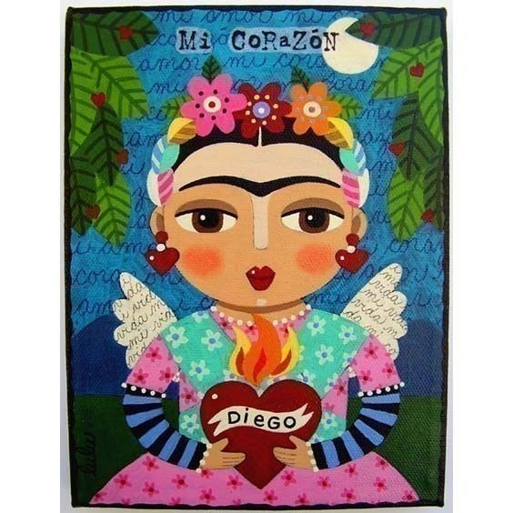Frida Khalo Flaming Heart Angel 6x8 Print of by MyPinkTurtleStudio, $15.00
