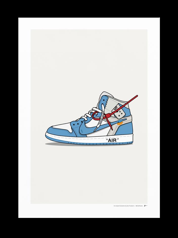 Off White Jordan 1 Unc White Jordans Nike Art Sneakers Wallpaper
