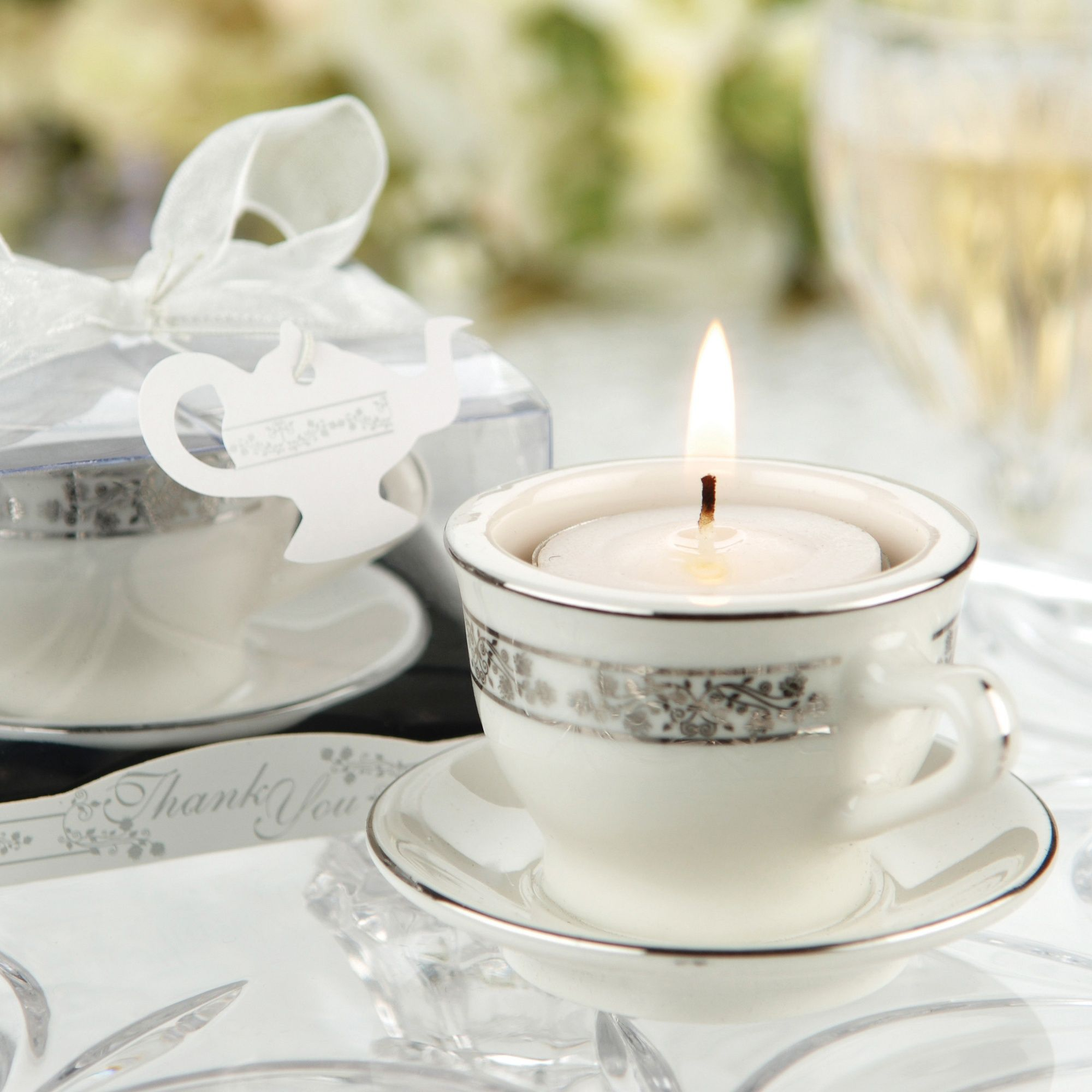 Teacup and Tealight Candle Wedding Favor | #exclusivelyweddings ...