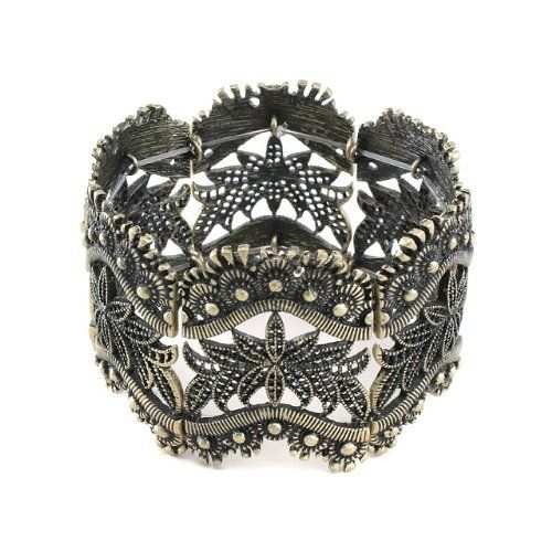 """Art Deco Inspired Vintage Filigree Style - Antiqued Gold Colored Stretch Bracelet Silver Insanity. $12.76. Fits a 7"""" Wrist Unstretched. Stretches For Easy On and Off. Antiqued Goldtone Base Metal"""