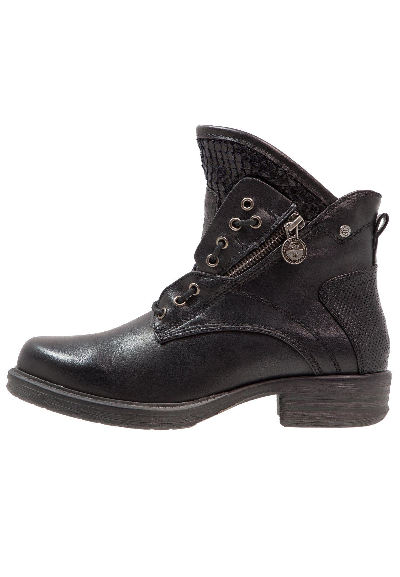 Dockers By Gerli Botki Kowbojki I Motocyklowe Schwarz Zalando Pl Boots Biker Boot Shoes