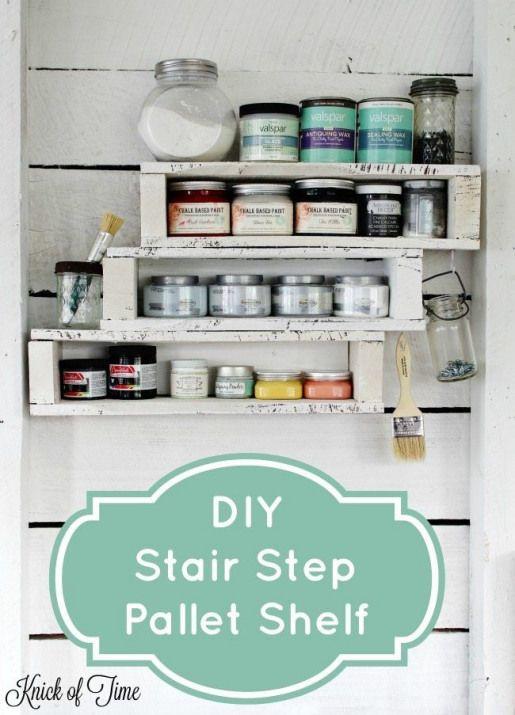 DIY pallet shelf for craft room or workshop storage # ...
