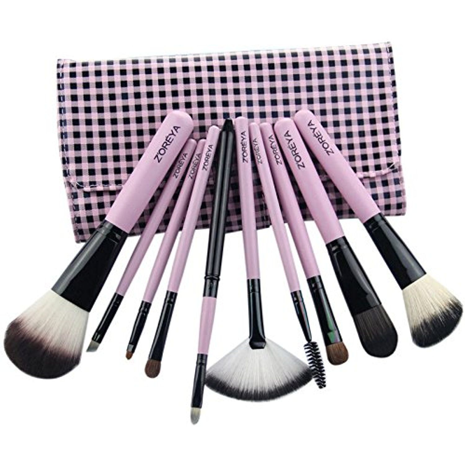 WOOD 10 PCS BEGINNER MAKEUP BRUSH SET,Horsehair