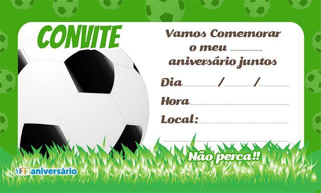 c1296114f Convite de aniversário bola de futebol para impressão grátis.  123aniversário Convites e cartões de aniversário grátis para baixar