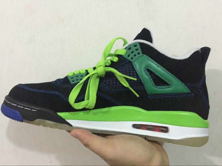Authentic Cheap Air Jordan 4 Discount 2016 Jordan Retro 4 Sneakers Green  Blue Black Shoe on