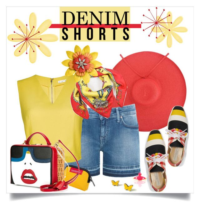 """""""Red & Yellow for Summer"""" by metter1 ❤ liked on Polyvore featuring Tommy Hilfiger, Alice + Olivia, Hermès, STELLA McCARTNEY, Manhattan Portage, Mark Cross, Vivienne Westwood, jeanshorts, denimshorts and cutoffs"""