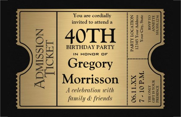 Get 40th Birthday Party Invitations Wording FREE Printable