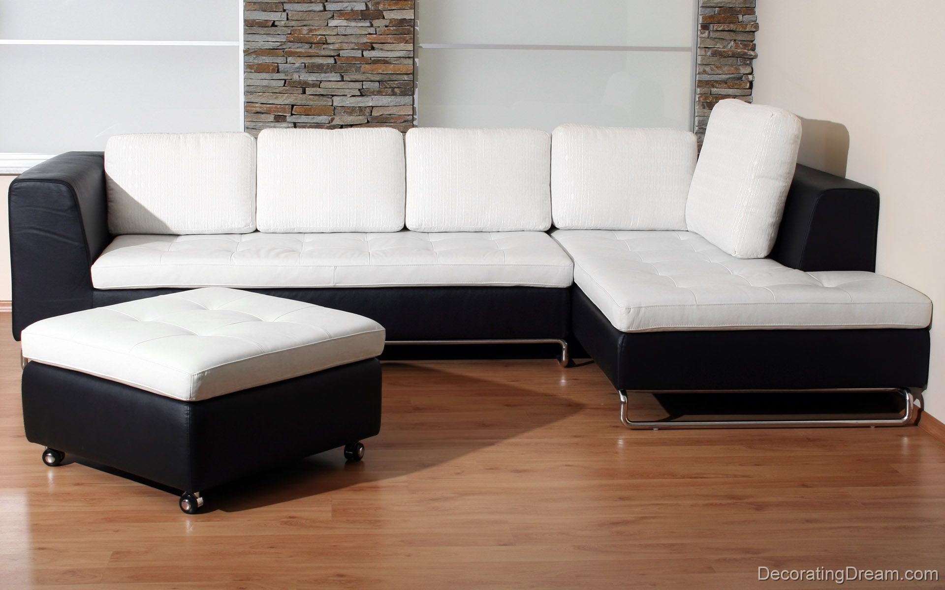 I pinned this because the white sofa would match with the black and ...