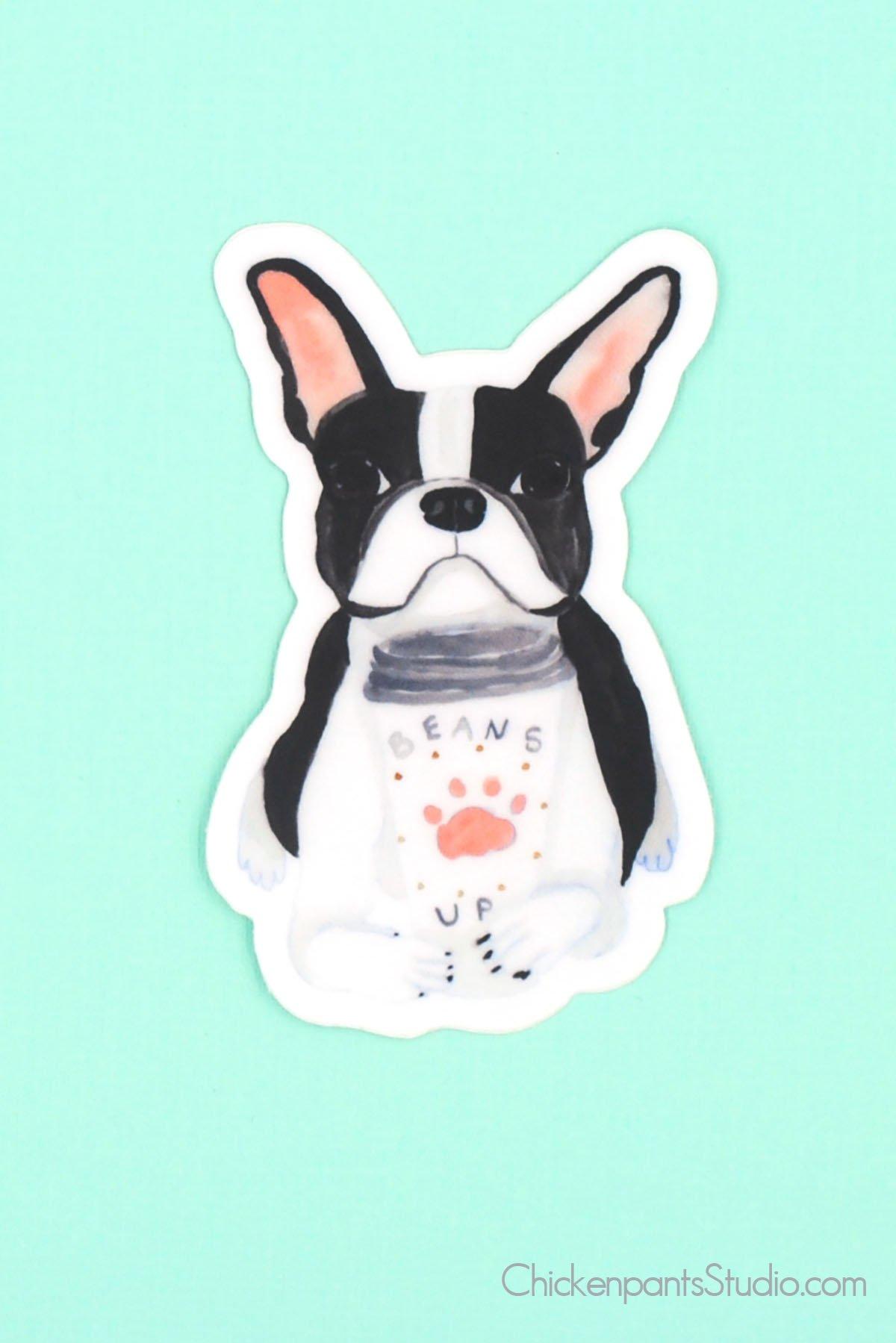 Beans Up Boston Terrier Vinyl Sticker Boston Terrier Puppy Boston Terrier Dog Boston Terrier