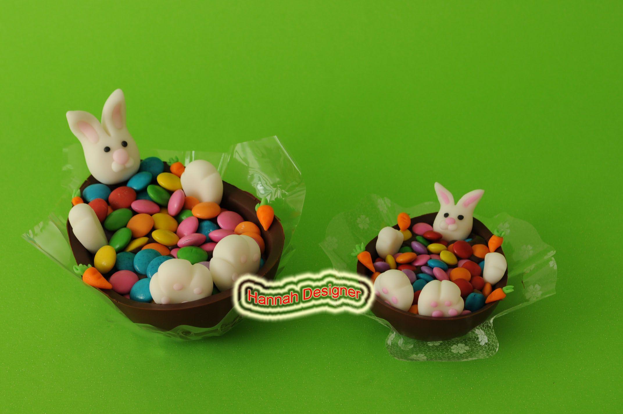 Coelhinho na Banheira ( meio ovo recheado com brigadeiro de colher coberto com confetes de chocolate)