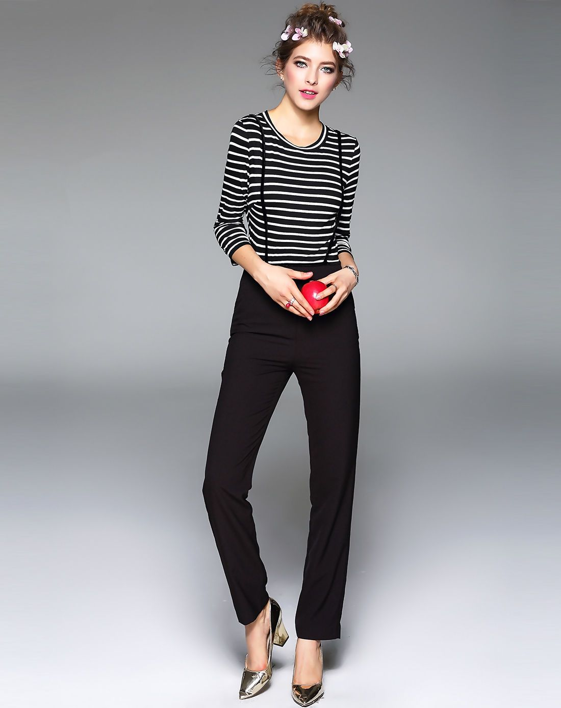 #AdoreWe #VIPme Jumpsuits & Rompers - TOO TANG Black Striped Slim Fit Jumpsuit - AdoreWe.com