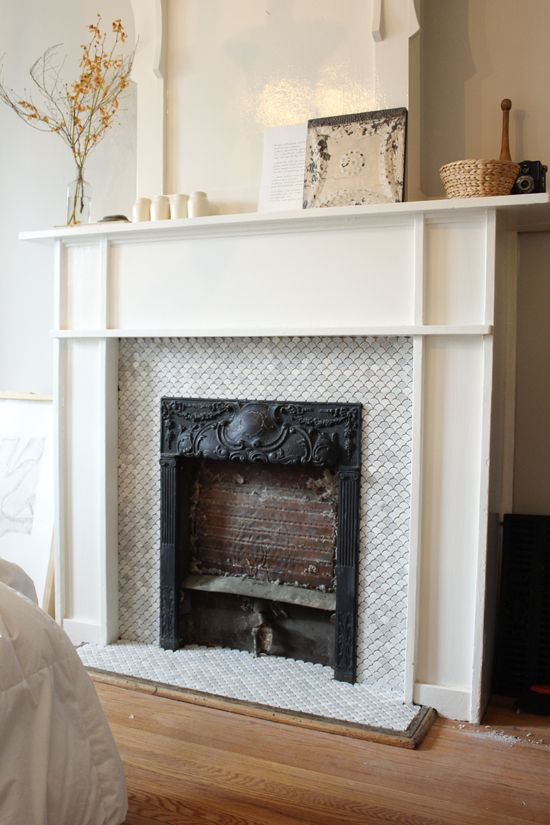 Carrara Bianco 3 Hexagon Honed Fireplace Mosaic tile fireplace