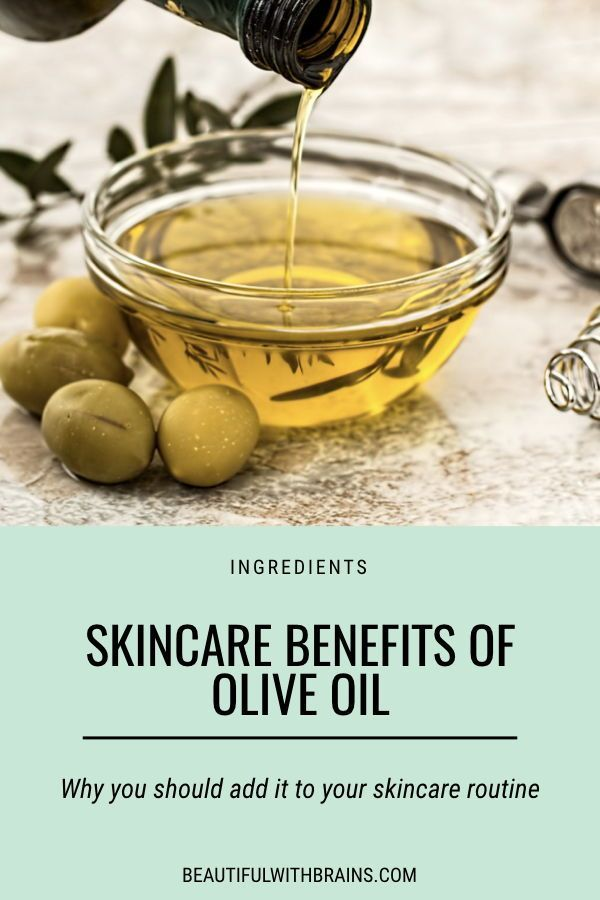 Skincare benefits of olive oil. Click this pin to learn why you should add it to your skincare routine, especially if you have dry skin. #skincare #skincareingredients #dryskin
