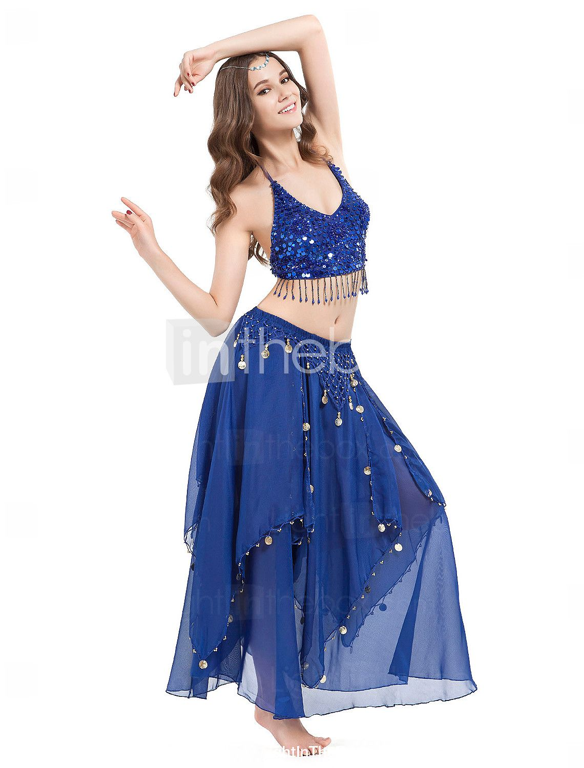 Women Dance Wear Chiffon With Coins Performance Belly Dance Skirt More Colors - AUD $ 20.54