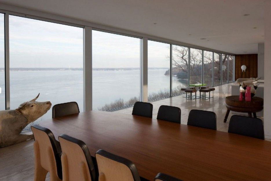 Amazing Glass House in Floating Design: Sleek Wooden Dining Table Beach Glass House Interior