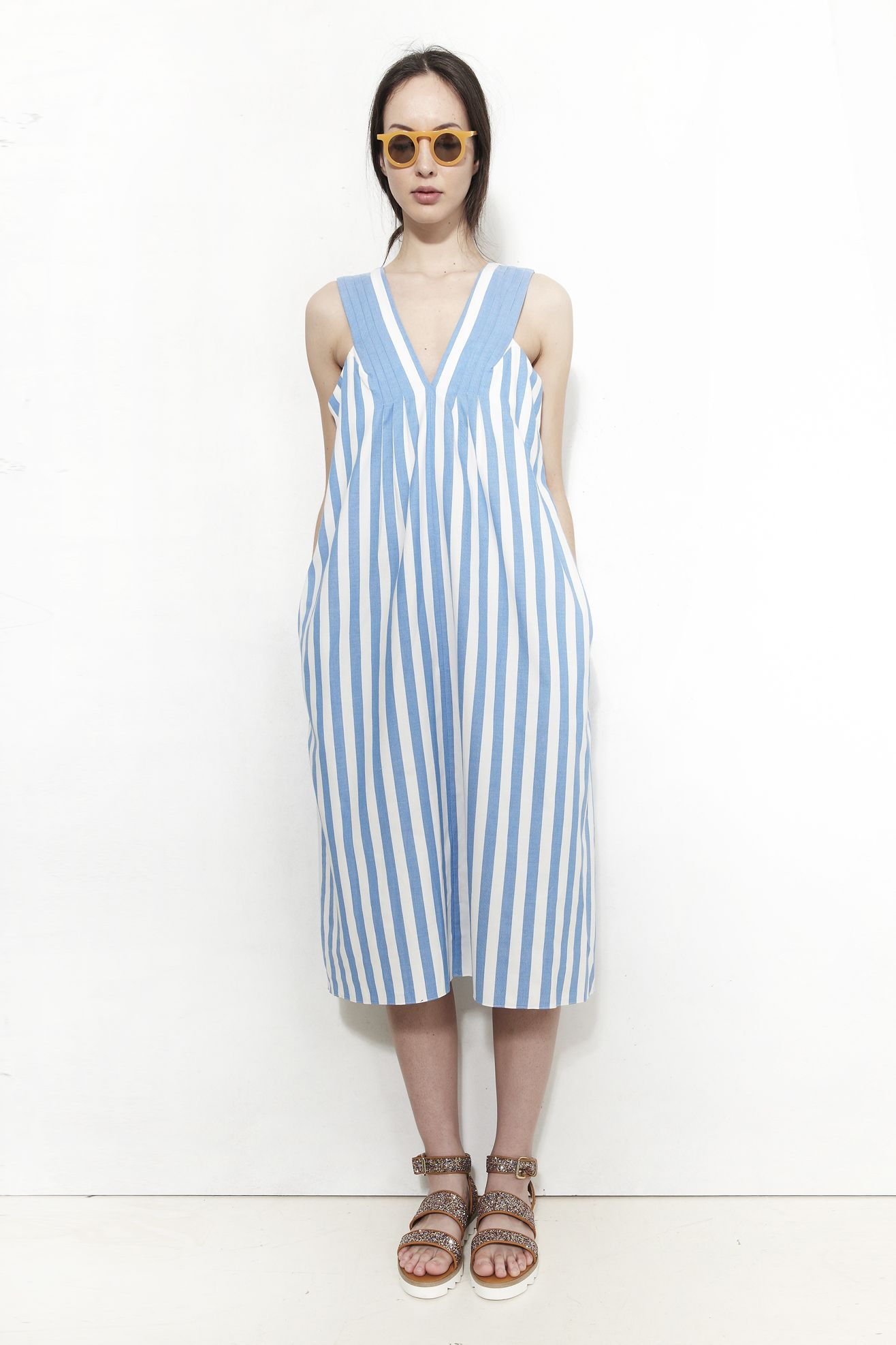CARLEEN, Pleat Midi Dress, Pool Stripe | Mr. Larkin