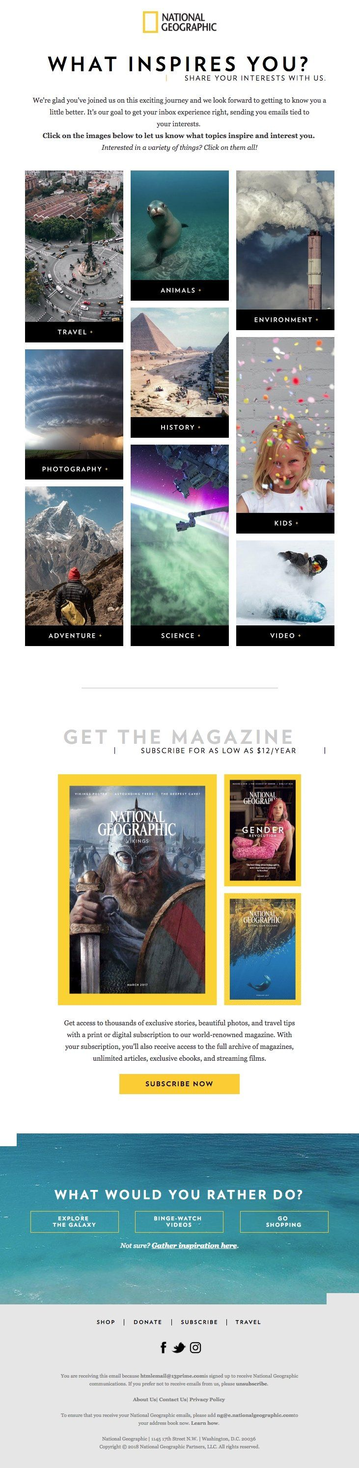 National Geographic Html Email Gallery What Inspires You Email Design Inspiration National Geographic