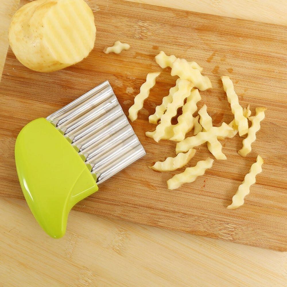 1 Uds cortador de patatas fritas, cuchillo de borde ondulado, trituradora de frutas y verduras, herramienta rebanadora de cocina