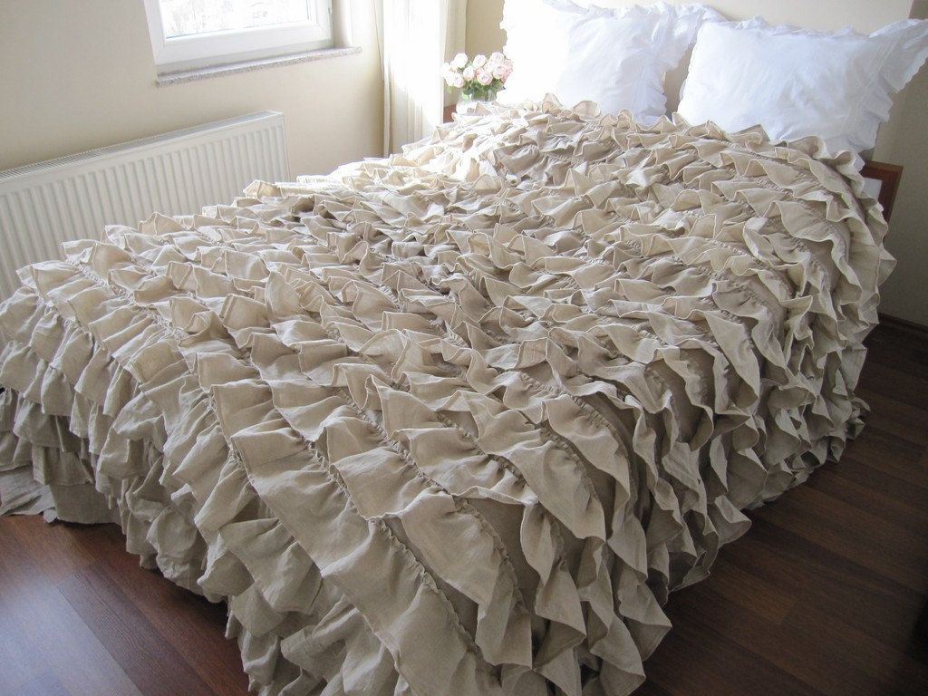 beige ruffle bedding  oatmeal beige waterfall ruffled bedding  - duvet