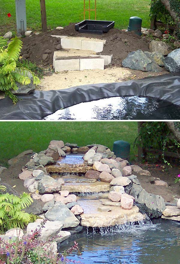 Diy garden waterfalls diy waterfall garden waterfall for Cheap pond ideas