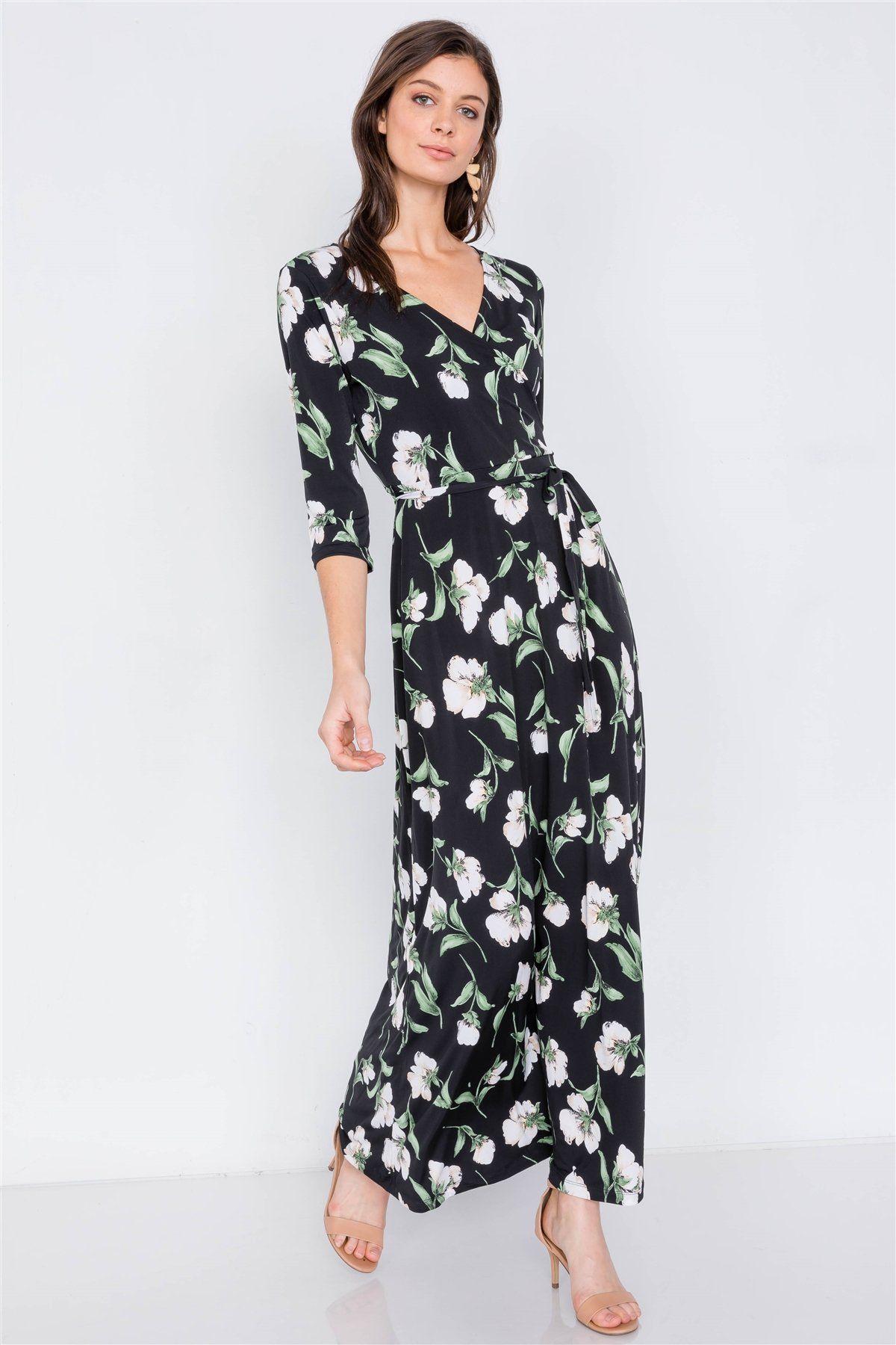 Black Floral Print Waist Tie 3 4 Sleeve Maxi Dress In 2021 Maxi Dress With Sleeves Black Floral Print Dress Elegant Maxi Dress [ 1800 x 1200 Pixel ]