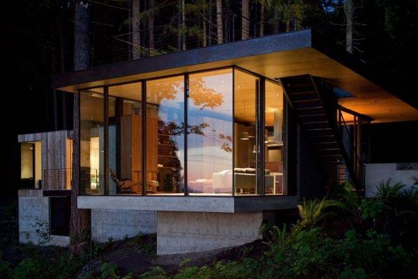 haus wald beleuchtung architecture pinterest haus architektur und wochenendhaus. Black Bedroom Furniture Sets. Home Design Ideas