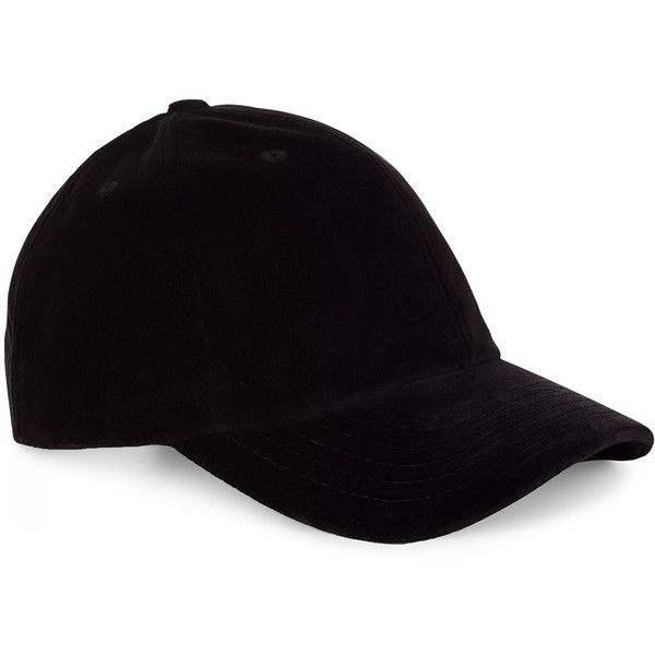 Le Amonie Black Velvet Baseball Cap ( 84) ❤ liked on Polyvore featuring  accessories 19a0a381c49