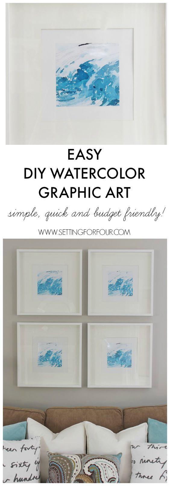 Easy DIY Watercolor Graphic Wall Art