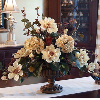 Large Elegant Magnolia Silk Floral Arrangement Ar263 This Elegant Magnolia Design Is Perfect For A Formal Dining Room The Color Is A Soft B Peony Arrangement Silk Floral Arrangements Flower Arrangements