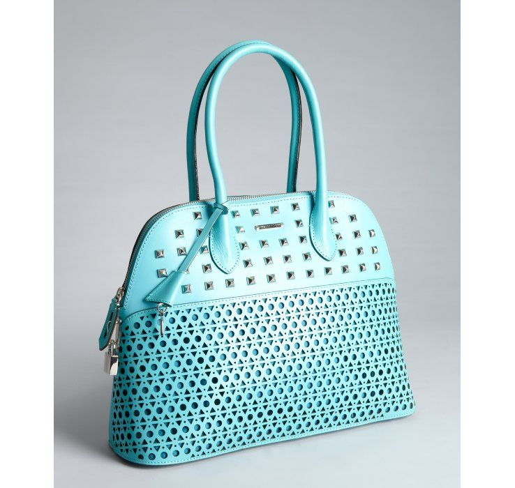 Rebecca Minkoff turquoise laser cut leather 'Andie' studded satchel