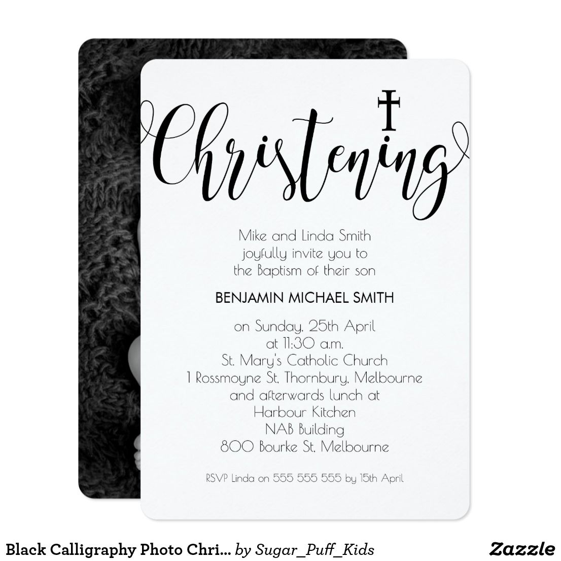 Black Calligraphy Photo Christening Invitation