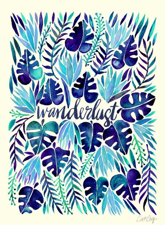 Tropical Wanderlust – Blue Art Print, by Cat Coquillette, via society6.com
