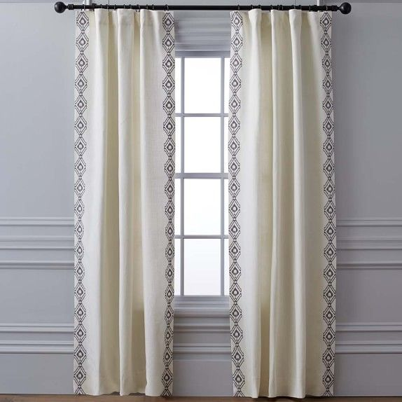 Sarez Ikat Embroidered Linen Drape Gray Williams Sonoma Linen