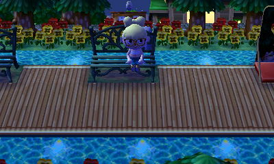 QR path long wood deck w/ water lights Animal crossing