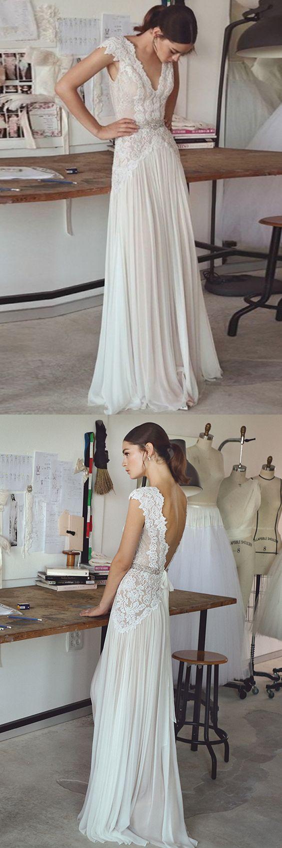 Elegant v neck wedding dresses, white backless wedding dresses, lace long wedding dresses